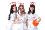 Portrait of sexy young nurses posing at camera