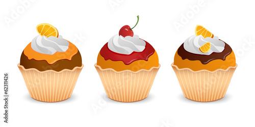 Set of three cupcakes