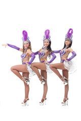 Trio of pretty Brazilian carnival dancers
