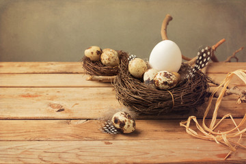 Vintage background with easter eggs decoration