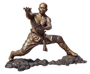Shaolin warriors monk bronze statue in Viharn Sien