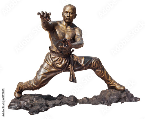 Leinwanddruck Bild Shaolin warriors monk bronze statue in Viharn Sien
