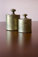 Two old gold weights