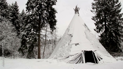 A big teepee on the snow