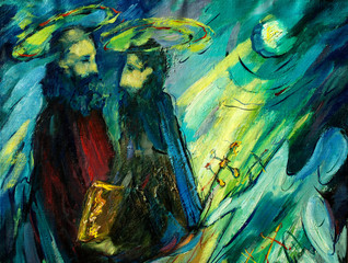 peter and paul , painting by oil on canvas, illustration