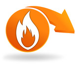 flamme sur bouton orange
