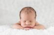 Leinwanddruck Bild - Newborn Baby in Bauchlage