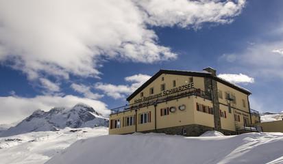 Schwarzsee hut in Swiss Alps