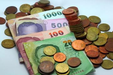 Colour dollar Coin Cash  of Thailand Money