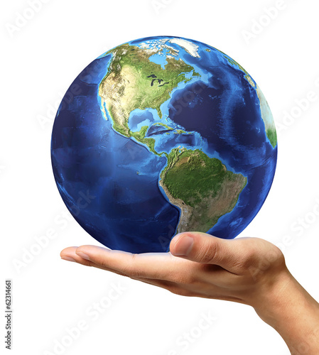 Man's hand with earth globe on it. On white background
