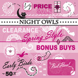Vector Art Elements Set Women Store Catalog Sale
