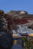 Night shot of Ammoudi Bay with Oia Santorini Greece above.