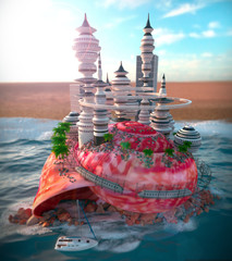 concept background with seashell and ecologic futuristic city