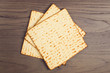 Matzo on wooden tabletop