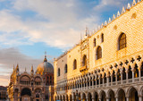 Basilica di San Marco under sunset clouds, Venice, Italy