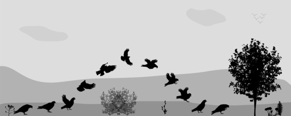 Birds Fly in Nature. Vector Illustration.