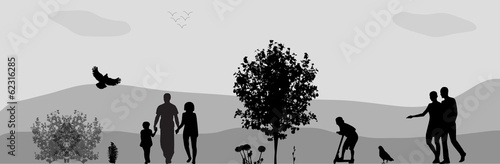 People Walk in the Park. Vector Illustration.