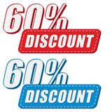60 percentages discount in two colors labels, flat design