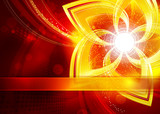 Abstract gold flower in red background. Vector