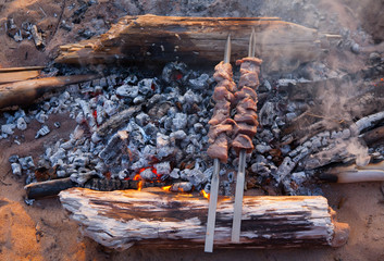 preparing schaschlik on fire.