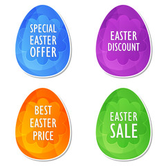 easter sale, offer, discount and price in four colors easter egg