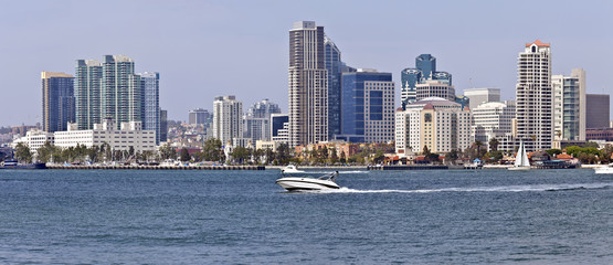 San Diego California waterfront skyline.