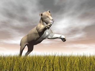 Lioness hunting - 3D render