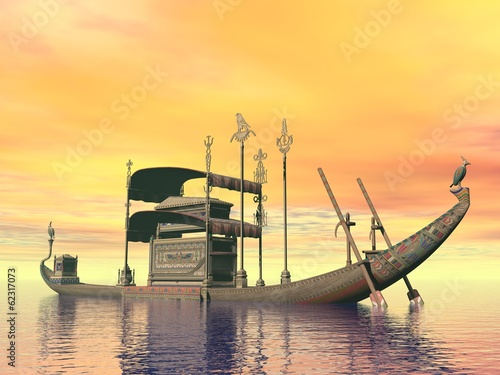 Egyptian sacred barge with tomb - 3D render