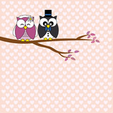 Owls in love. wedding card
