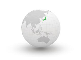 Globe. 3d. Japan.