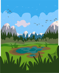 Marshy cartoon landscape. All in separated layers.