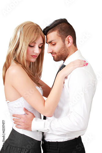 Office romance couple in intimate moment