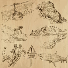 SOUTH AFRICA_4. Set of hand drawn illustrations into vectors