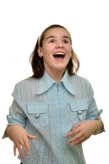 Rejoicing a laughing schoolgirl teen girl