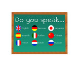 Blackboard with text Do you speak for some languages