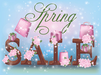 Spring sale background, vector illustration