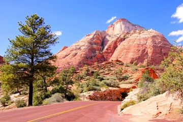 Scenic drive through Zion National Park, Utah, USA