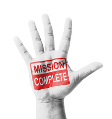 Open hand raised, Mission Complete sign painted