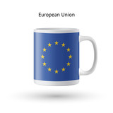 European Union flag souvenir mug on white background.