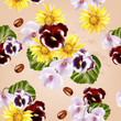 Beautiful vector seamless pattern with detailed  flowers