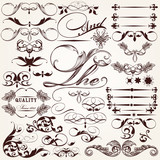 Collection of vector decorative elements and flourishes in vinta