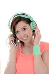 young attractive woman headphones listening music