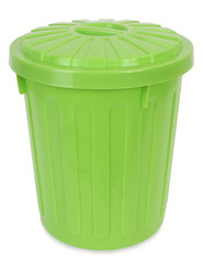 Plastic green trash can