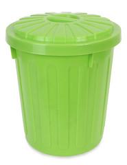 Plastic green trash can