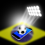 soccer ball with spotlight  on smartphone,cell phone illustratio