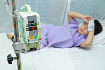 Children patient in hospital bed