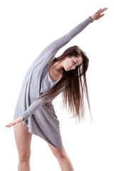 Dancer stretching arms