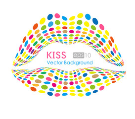 Feminine mouth,colorful  lips. Vector  color dots.