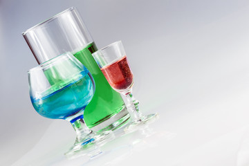 Angled View of Colorful Drinks