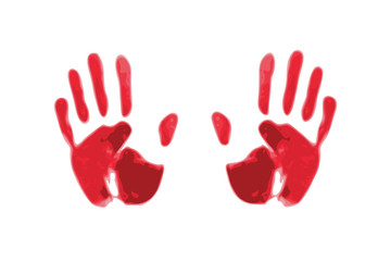 red silhouette of handprints. imitation of brush